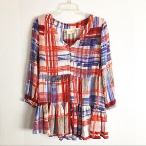 Anthropologie Maeve Peplum Plaid Swing Top Blouse